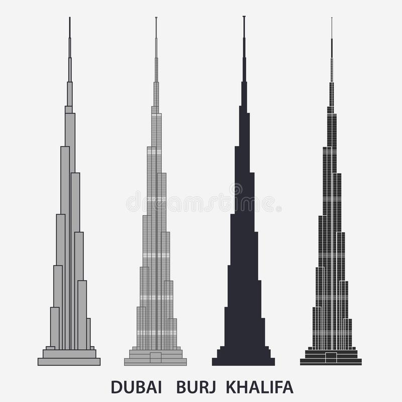 Burj Khalifa tower Dubai. Skyscraper silhouette, famous building. Vector. Burj Khalifa tallest tower Dubai. United Arab Emirate, skyscraper silhouette, famous vector illustration