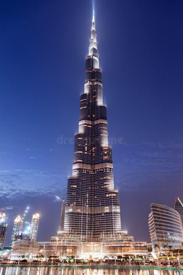 Burj Khalifa tower at night royalty free stock photos