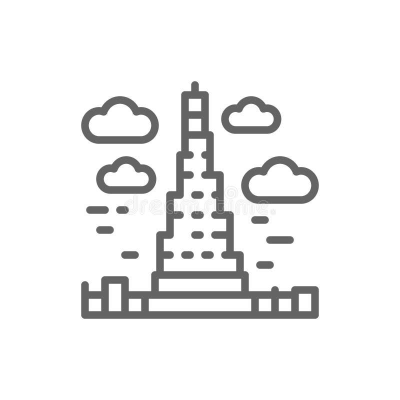Burj Khalifa, United Arab Emirates, landmark line icon. vector illustration