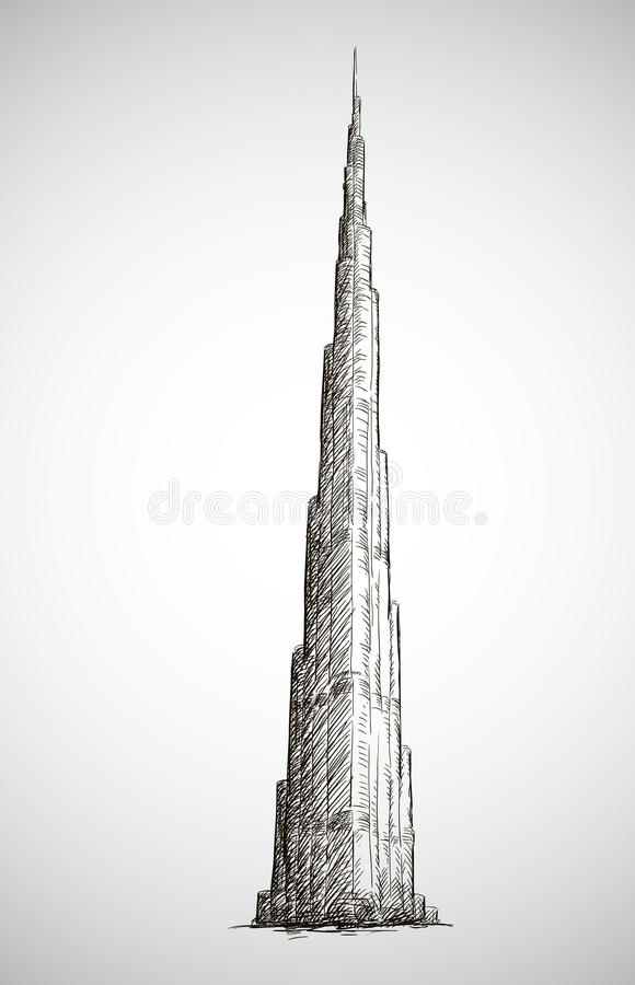 Burj khalifa vector drawing sketch style stock vector for Burj khalifa sketch