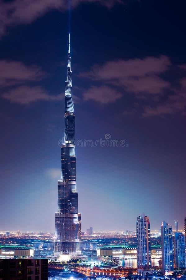 Burj Khalifa. Vista di notte fotografie stock libere da diritti