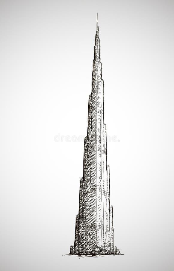 Burj Khalifa. Wektorowy rysunek. Nakreślenie styl. ilustracji