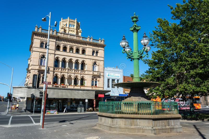 Burke and Wills Fountain on Sturt Street in Ballarat, VIC. Ballarat, Victoria, Australia - March 8, 2017. Burke and Wills Fountain on Sturt Street in Ballarat stock photography