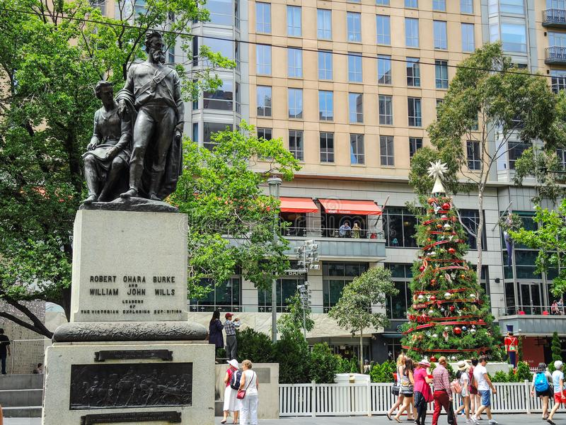 Burke and Wills Statue on the corner of Collins and Swanston Street, Melbourne. MELBOURNE, AUSTRALIA. – On December 25, 2013 - Burke and Wills Statue on stock image