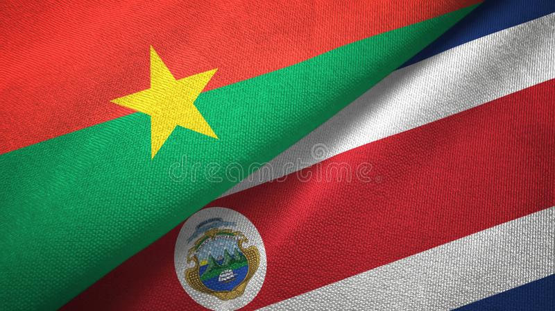 Burkina Faso and Costa Rica two flags textile cloth, fabric texture vector illustration
