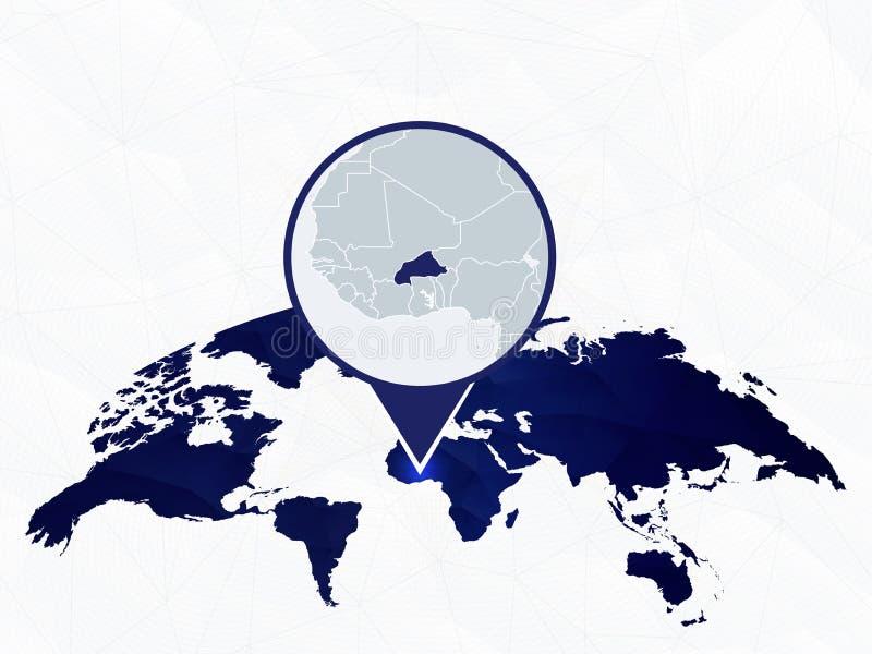 Burkina Faso detalhou o mapa destacou no mapa do mundo arredondado azul ilustração royalty free
