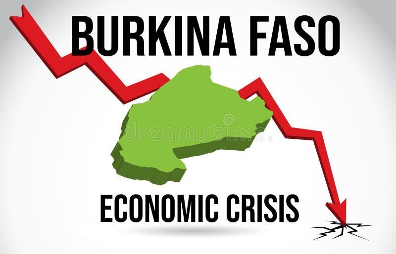 Burkina Faso Map Financial Crisis Economic Collapse Market Crash Global Meltdown Vector. Illustration royalty free illustration