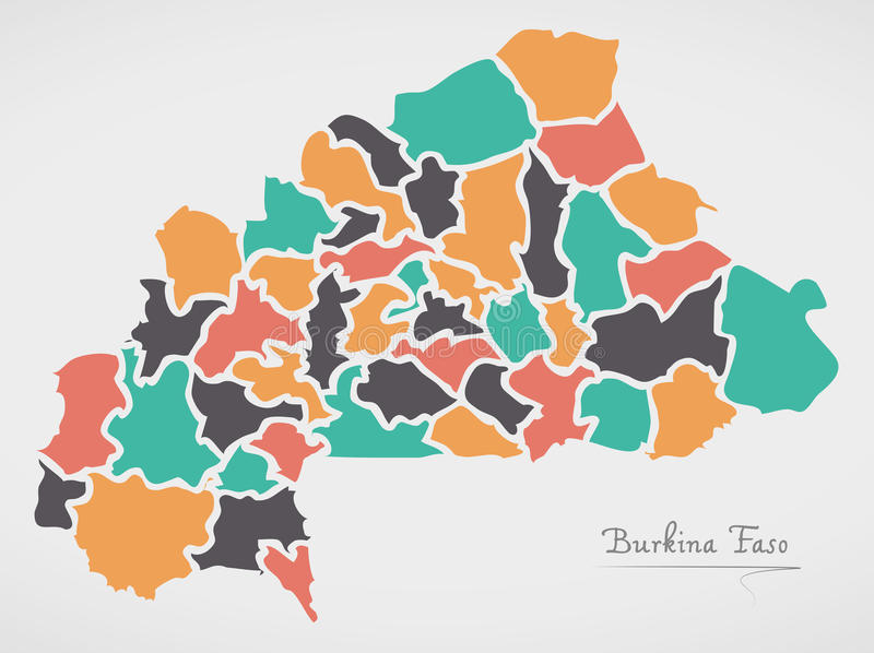 Burkina Faso Map with states and modern round shapes. Illustration royalty free illustration
