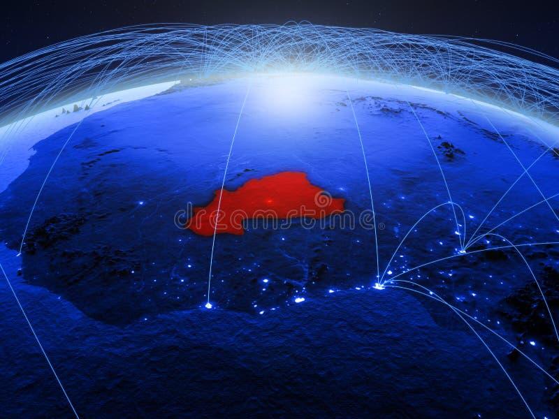 Burkina Faso op blauwe digitale aarde met internationaal netwerk die mededeling, reis en verbindingen vertegenwoordigen 3d royalty-vrije stock foto