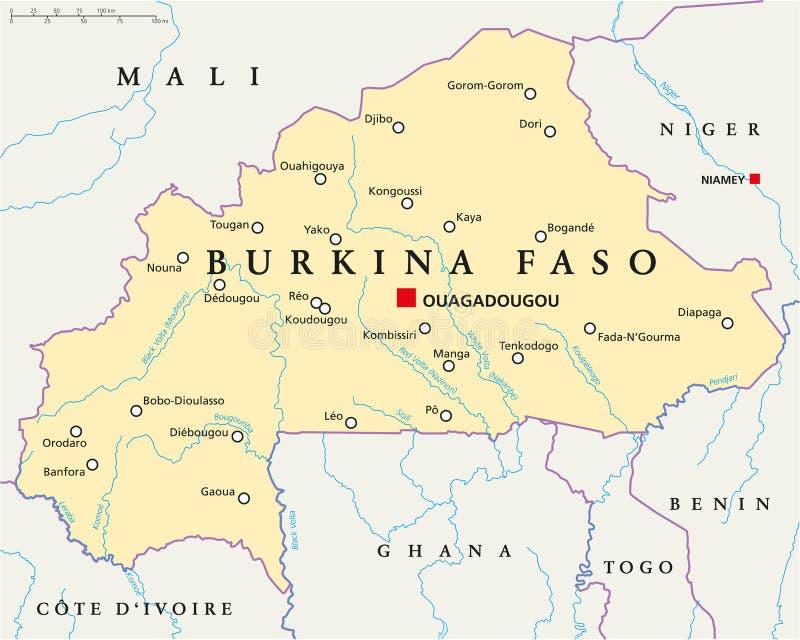 Burkina Faso Political Map stock vector Illustration of ouagadougou