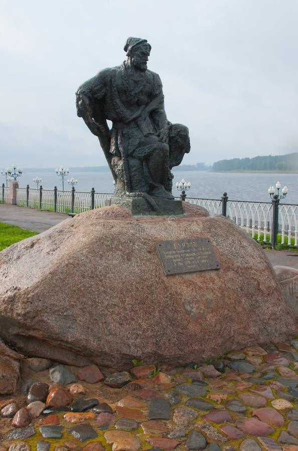 Burlak monument på den Rybinsk invallningen, Yaroslavl region, Ryssland fotografering för bildbyråer