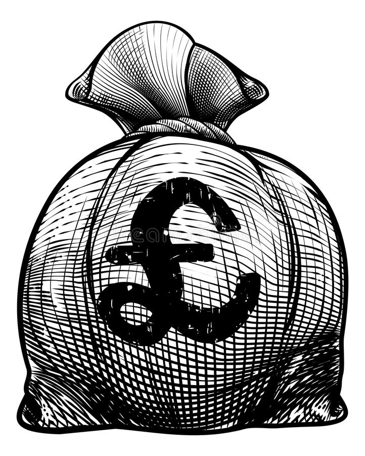 Burlap σημαδιών λιβρών σάκος ή τσάντα χρημάτων απεικόνιση αποθεμάτων