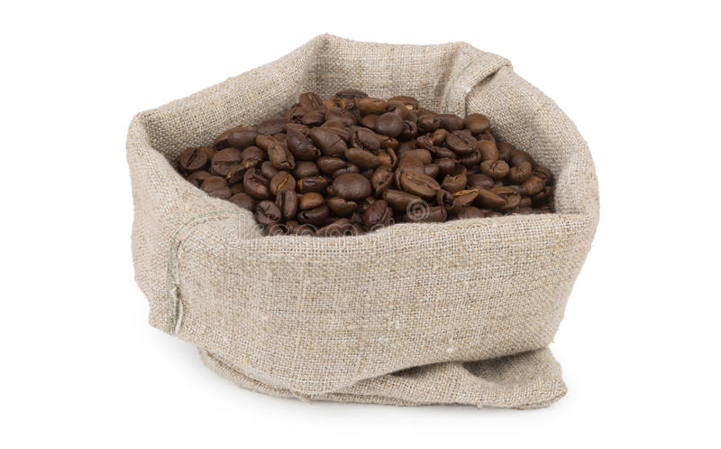Burlap τσάντα του ψημένου καφέ φασολιών καφέ στοκ εικόνες