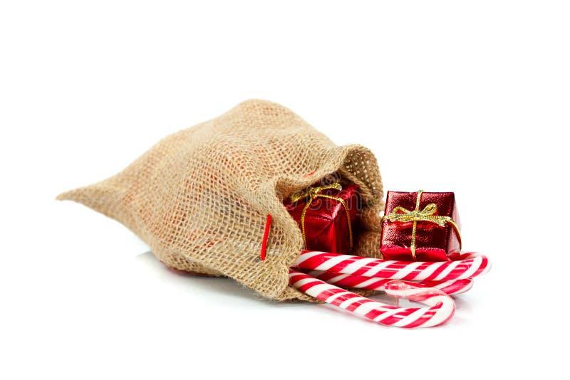 Burlap τσάντα δώρων στοκ εικόνες