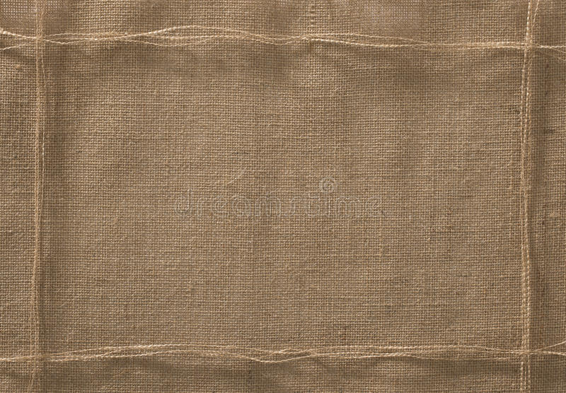 Burlap υπόβαθρο πλαισίων υφάσματος, νήμα σχοινιών υφασμάτων σάκων στοκ φωτογραφία με δικαίωμα ελεύθερης χρήσης