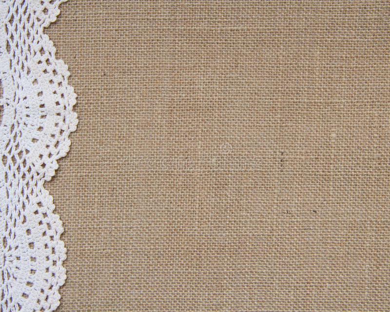 Download Burlap Background With Lace Stock Photo