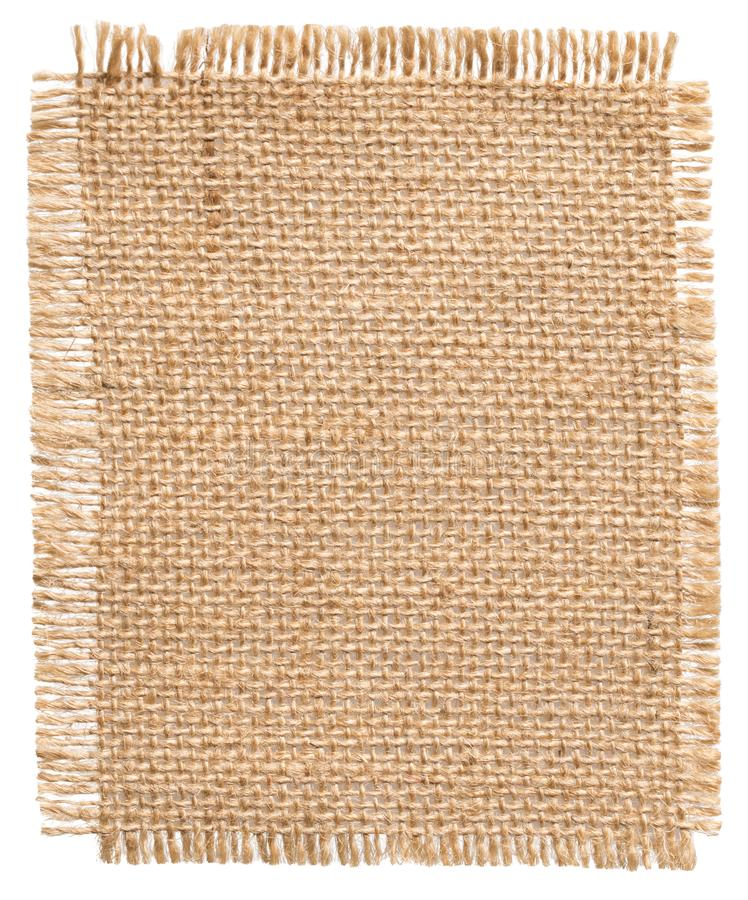 Burlap Fabric Patch Label, Sackcloth Piece, Sack Cloth of Linen Jute. Burlap Fabric Patch Label, Sackcloth Piece of Linen Jute, Sack Cloth Tag Isolated over royalty free stock photography