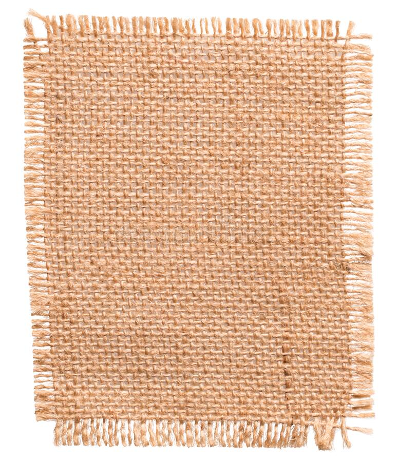 Burlap Fabric Patch Piece, Jute Sack Cloth Texture, Textile White Isolated stock photography