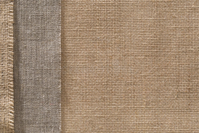 Burlap Fabric Sack Cloth Edge Background, Sackcloth Border stock photography
