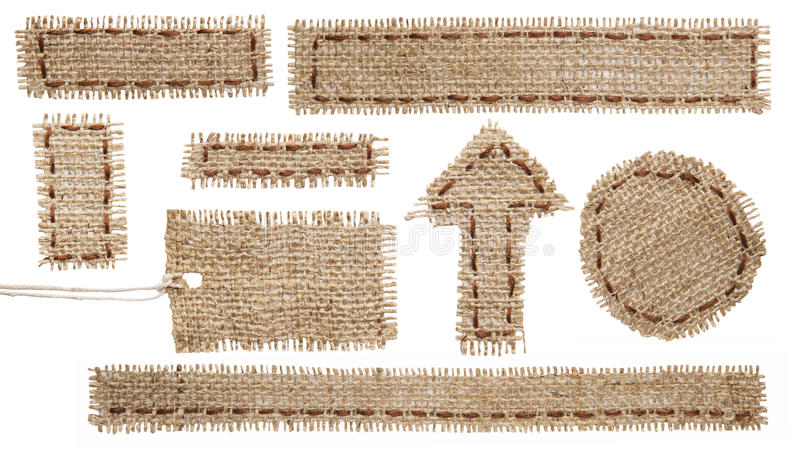 Burlap Fabric Tag Label, Hessian Cloth Patch Ribbon, Sackcloth royalty free stock photography