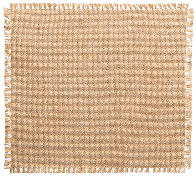 Burlap Fabric Torn Edges, Sack Cloth Pattern Isolated. Over White background royalty free stock photography