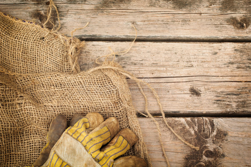 Burlap, Gloves And Hammer stock images