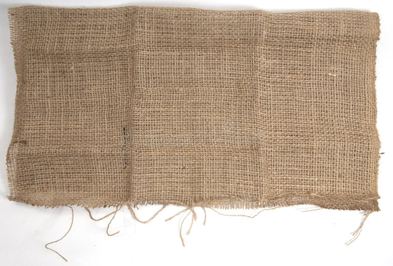 Burlap Hessian isolated on white royalty free stock photo