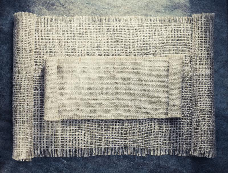 Burlap hessian sacking. On background texture stock photo