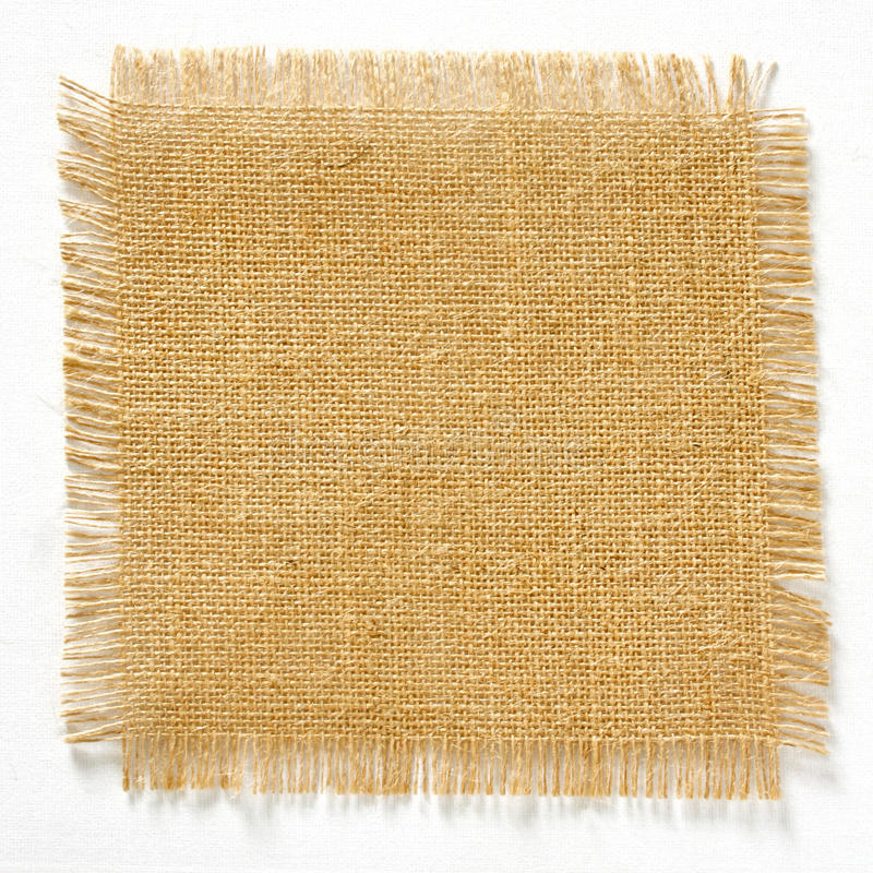 Burlap hessian square with frayed edges isolated stock image