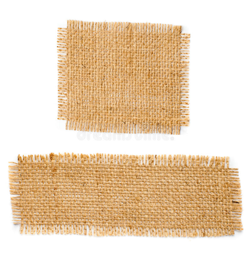 Burlap hessian square with frayed edges set. Burlap hessian square with frayed edges on white background stock photo