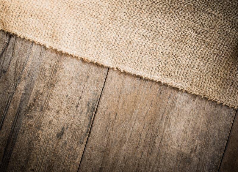 Burlap i drewniany tekstury tło zdjęcie royalty free