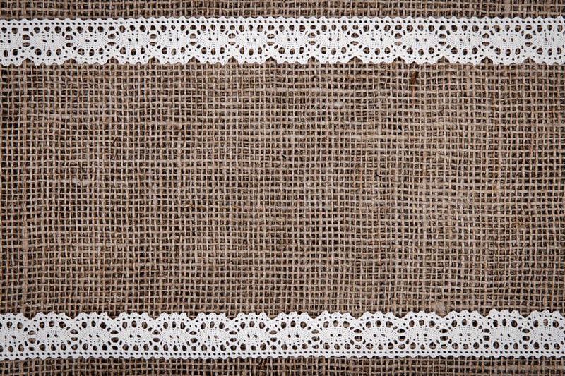 Download Burlap Lace Stock Image Of Cotton Rustic Beige