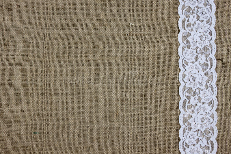Burlap and lace texture royalty free stock image