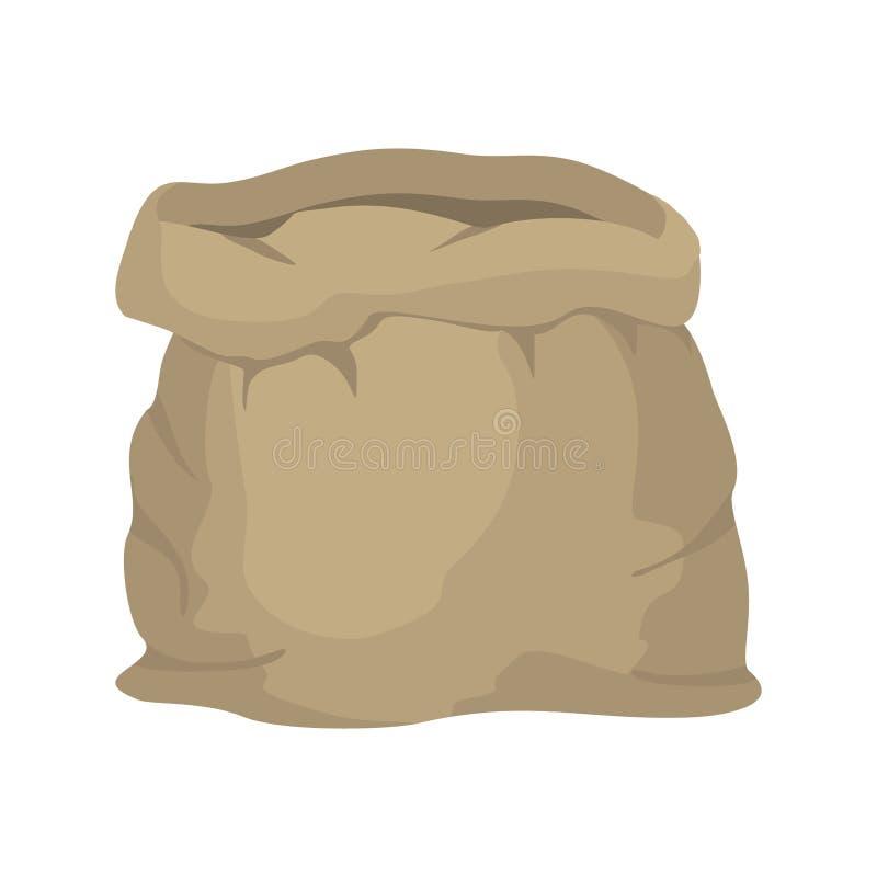 Burlap pusty worek torba jest pusta torby płótno zrobił Beżowa torba dalej ilustracji
