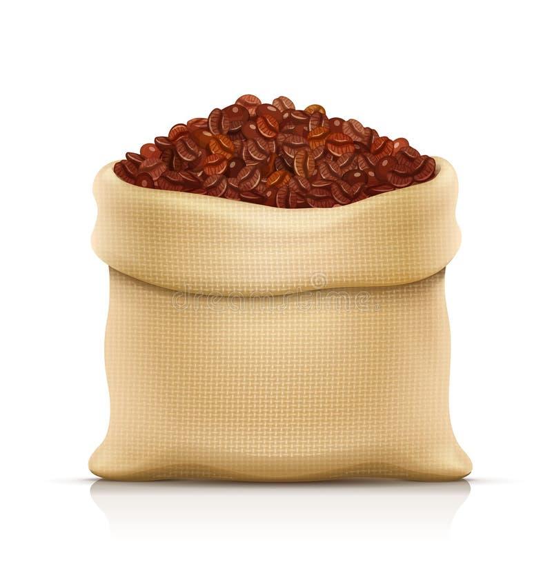 Burlap sack with coffee grain. Eps10 vector illustration. stock illustration