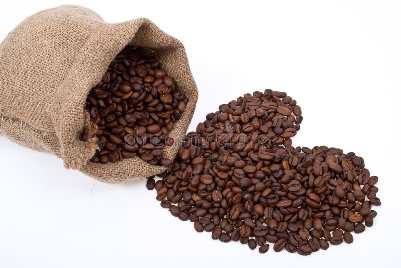 Burlap sack with coffee heart stock photo