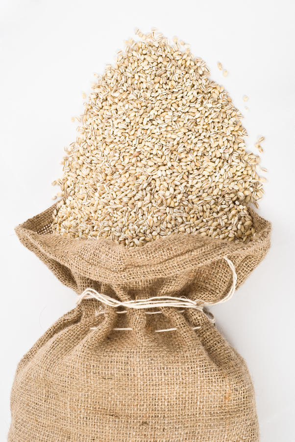 Download Burlap Sack With Pearl Barley Spilling Out Over A Stock Photo - Image: 11592186