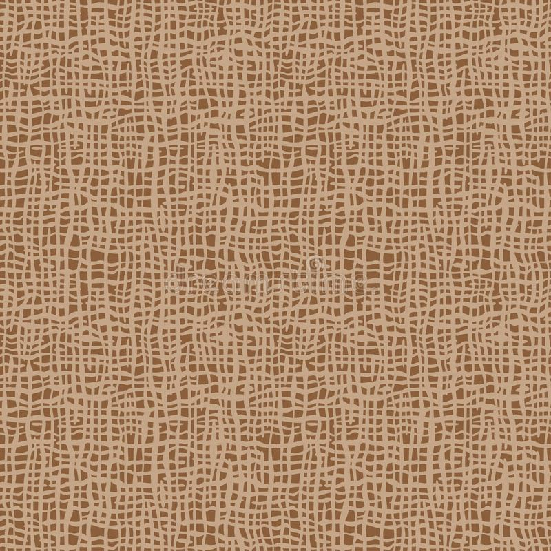 Burlap texture. Brown fabric. Canvas seamless background pattern. Cloth linen sack backdrop. Vintage rustic style for posters, banners, retro designs. Vector stock illustration
