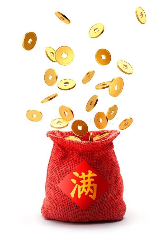 Burlap workowy pełny z chińskimi złocistymi monetami ilustracji