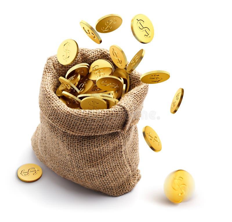 Burlap workowy pełny z złocistymi monetami na białym tle ilustracji