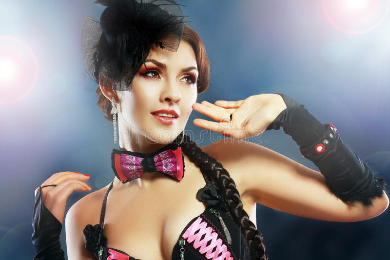 Burlesk showgirl arkivbilder