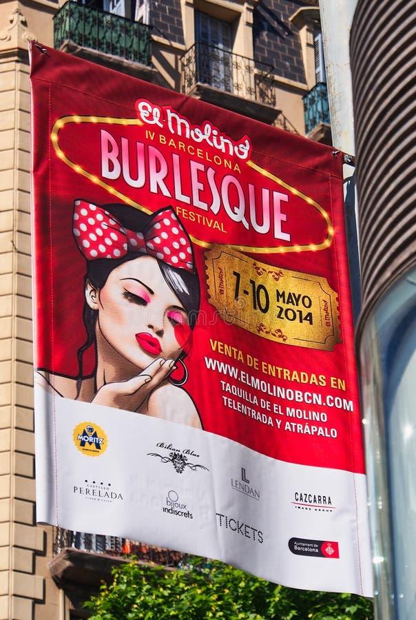 Burleske Reclameaffiche, Barcelona, Spanje stock foto's