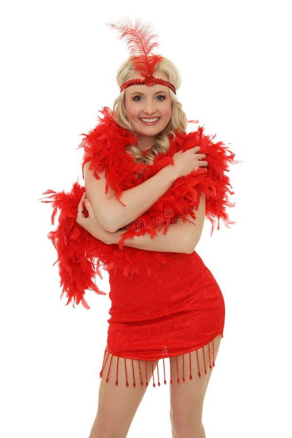 Burlesque dancer. Smiling on white background stock photos