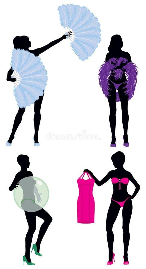 Burlesque Frauen-Schattenbilder lizenzfreie abbildung