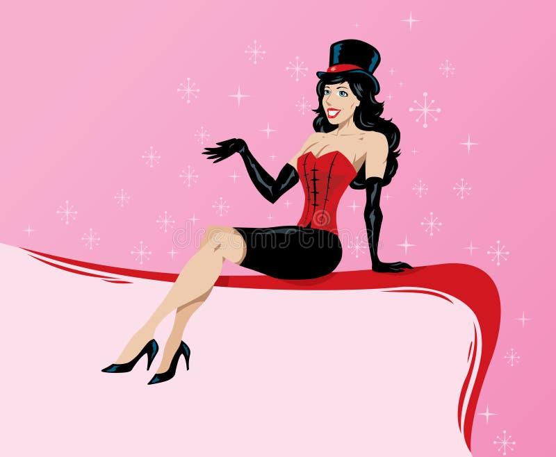 Burlesque girl on edge of border royalty free stock photo
