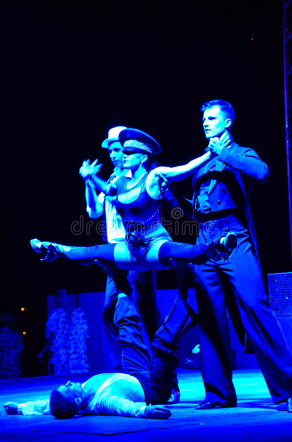 Burlesque. Performance on a hotel in Bodrum stock images