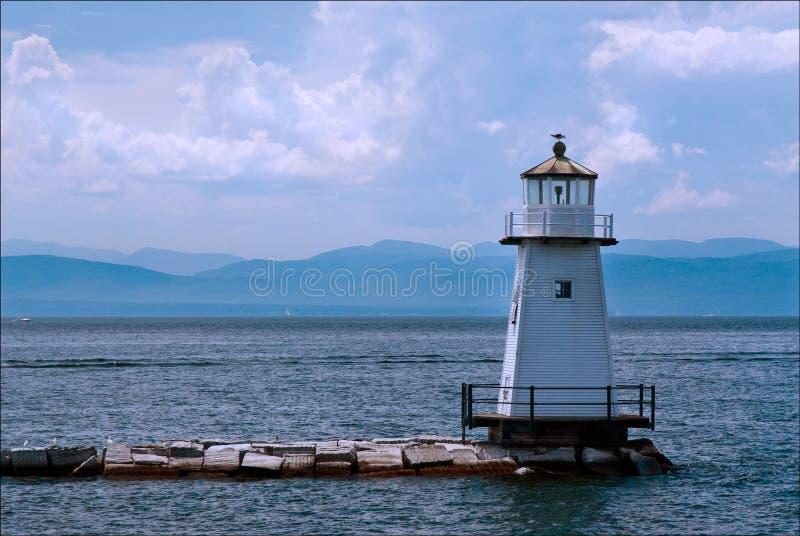Burlington falochronu latarnia morska w Jeziornym Champlain, Vermont obrazy stock