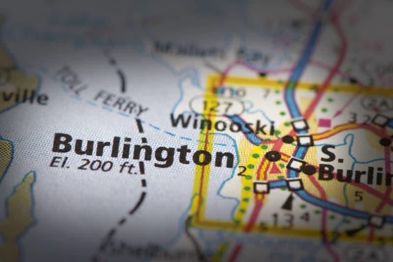 Burlington, Vermont op kaart royalty-vrije stock foto
