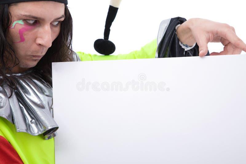 Burlone con la scheda fotografia stock libera da diritti