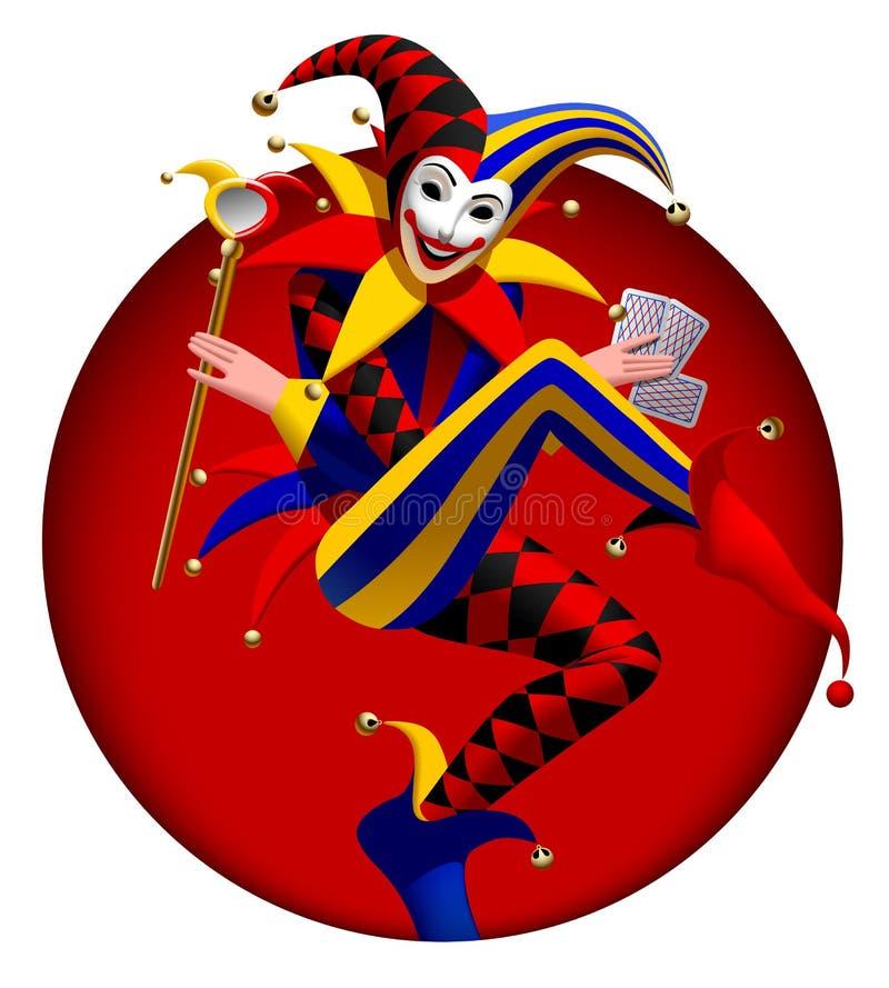 Burlone con le carte da gioco e specchio nel telaio rotondo rosso scuro royalty illustrazione gratis